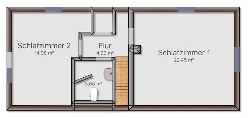 Ferienhaus Lutki Obergeschoss